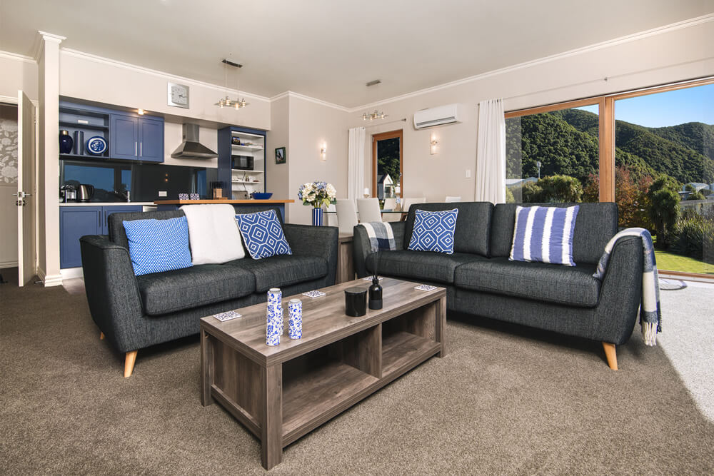Lounge Couches In The Tui Apartment At Wilkes Way Villa In Picton Marlborough NZ