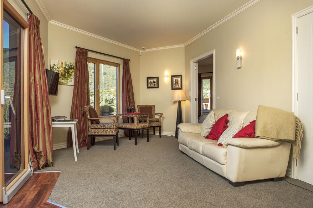 Sitting Area In The Pukeko Apartment At Wilkes Way Villa In Picton Marlborough NZ